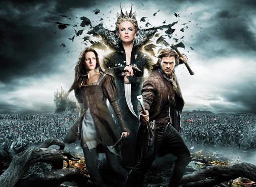 Snow White (Kirsten Stewart), Königin Ravenna (Chalize Theron) und Huntsman Eric (Chris Hemsworth). Bild: Sender
