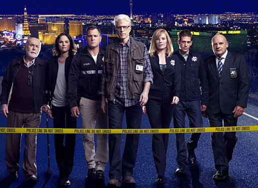 Das CSI-Team: Dr. Albert Robbins (Robert David Hall), Sara Sidle (Jorja Fox), Nick Stokes (George Eads), D.B. Russell (Ted Danson), Catherine Willows (Marg Helgenberger), Greg Sanders (Eric Szmanda) und Captain Jim Brass (Paul Guilfoyle). Bild: Sender