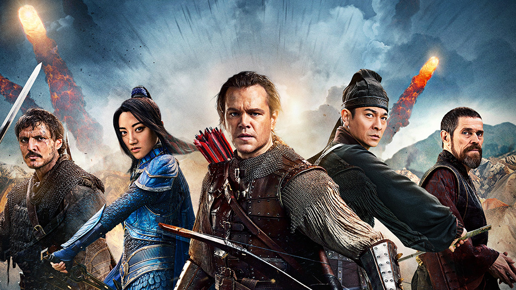 Pero Tovar (Pedro Pascal), Lin Mae (Jing Tian), William Garin (Matt Damon), Stratege Wang (Andy Lau) und Sir Ballard (Willem Dafoe).  Bild: Sender / TVNOW / 2016 Legendary Pictures and Monolith Productions US, LLC.